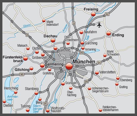 Landkarte von München mit Verkehrsnetz